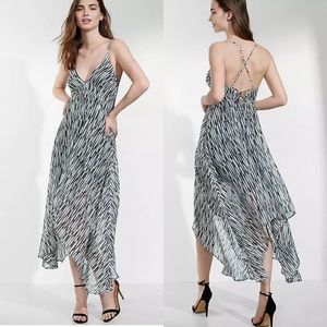 NWT Express Handkerchief Hem Sheer Maxi Dress